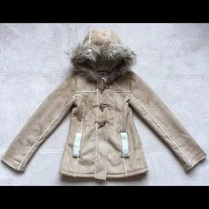 Justice Winter Coat Size 6/7 Faux Fur & Sherpa Tan